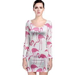 Pink Flamingos Pattern Long Sleeve Bodycon Dresses