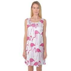 Pink Flamingos Pattern Sleeveless Satin Nightdresses