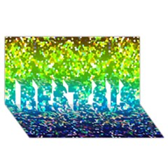 Glitter 4 Best Sis 3d Greeting Card (8x4)
