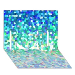 Mosaic Sparkley 1 I Love You 3d Greeting Card (7x5)