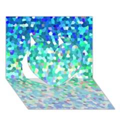 Mosaic Sparkley 1 Heart 3D Greeting Card (7x5)