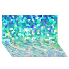 Mosaic Sparkley 1 Twin Heart Bottom 3D Greeting Card (8x4)