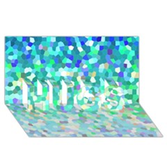 Mosaic Sparkley 1 Hugs 3d Greeting Card (8x4)