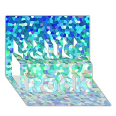 Mosaic Sparkley 1 You Rock 3d Greeting Card (7x5)