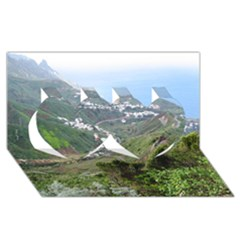 Tenerife 10 Twin Hearts 3D Greeting Card (8x4)