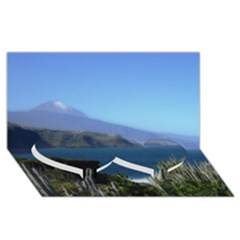 Panted Landscape Tenerife Twin Heart Bottom 3d Greeting Card (8x4)