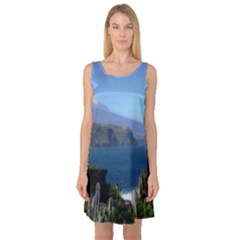 Panted Landscape Tenerife Sleeveless Satin Nightdresses