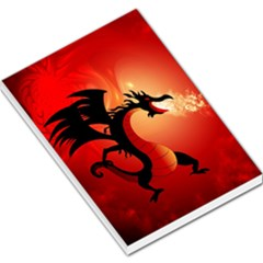 Funny, Cute Dragon With Fire Large Memo Pads