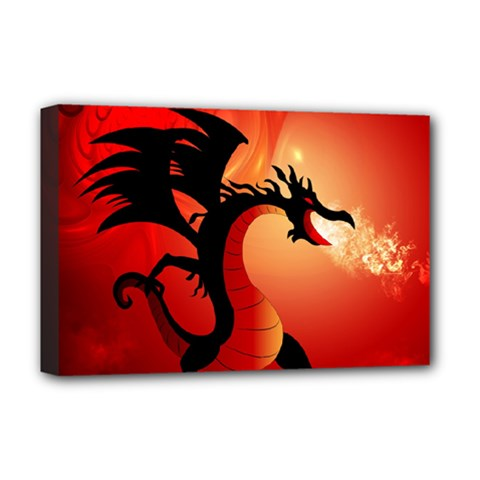 Funny, Cute Dragon With Fire Deluxe Canvas 18  x 12