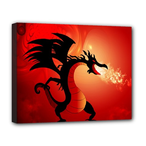 Funny, Cute Dragon With Fire Deluxe Canvas 20  x 16