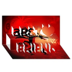 Funny, Cute Dragon With Fire Best Friends 3d Greeting Card (8x4)