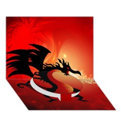 Funny, Cute Dragon With Fire Circle Bottom 3D Greeting Card (7x5)