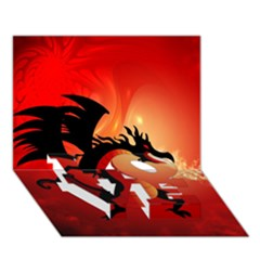 Funny, Cute Dragon With Fire LOVE Bottom 3D Greeting Card (7x5)