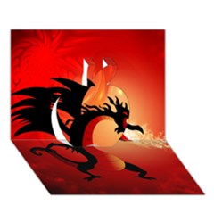 Funny, Cute Dragon With Fire Apple 3D Greeting Card (7x5)