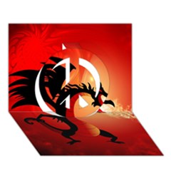 Funny, Cute Dragon With Fire Peace Sign 3D Greeting Card (7x5)