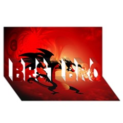 Funny, Cute Dragon With Fire BEST BRO 3D Greeting Card (8x4)