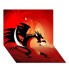 Funny, Cute Dragon With Fire Circle 3D Greeting Card (7x5)
