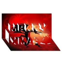 Funny, Cute Dragon With Fire Merry Xmas 3d Greeting Card (8x4)
