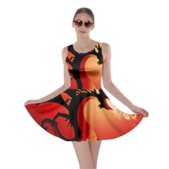 Funny, Cute Dragon With Fire Skater Dresses
