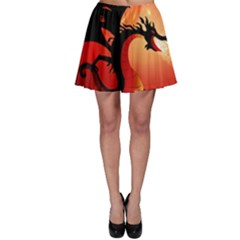 Funny, Cute Dragon With Fire Skater Skirts