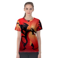 Funny, Cute Dragon With Fire Women s Sport Mesh Tees