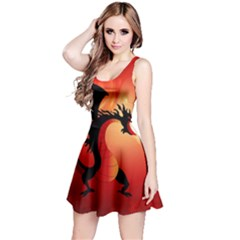 Funny, Cute Dragon With Fire Reversible Sleeveless Dresses