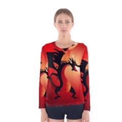 Funny, Cute Dragon With Fire Women s Long Sleeve T Shirts