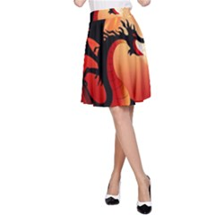 Funny, Cute Dragon With Fire A-Line Skirts