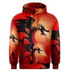 Funny, Cute Dragon With Fire Men s Pullover Hoodies