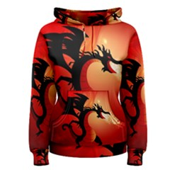 Funny, Cute Dragon With Fire Women s Pullover Hoodies