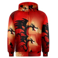Funny, Cute Dragon With Fire Men s Zipper Hoodies