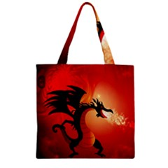 Funny, Cute Dragon With Fire Zipper Grocery Tote Bags