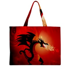 Funny, Cute Dragon With Fire Zipper Tiny Tote Bags