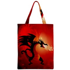 Funny, Cute Dragon With Fire Zipper Classic Tote Bags