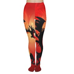 Funny, Cute Dragon With Fire Women s Tights