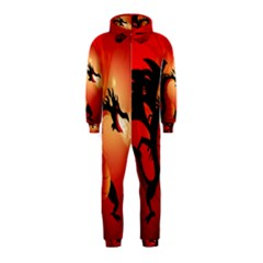 Funny, Cute Dragon With Fire Hooded Jumpsuit (Kids)