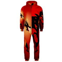 Funny, Cute Dragon With Fire Hooded Jumpsuit (Men)