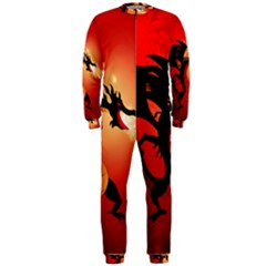 Funny, Cute Dragon With Fire OnePiece Jumpsuit (Men)