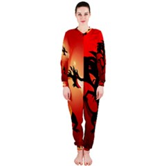 Funny, Cute Dragon With Fire OnePiece Jumpsuit (Ladies)