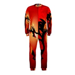 Funny, Cute Dragon With Fire Onepiece Jumpsuit (kids)