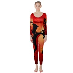 Funny, Cute Dragon With Fire Long Sleeve Catsuit