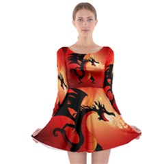 Funny, Cute Dragon With Fire Long Sleeve Skater Dress
