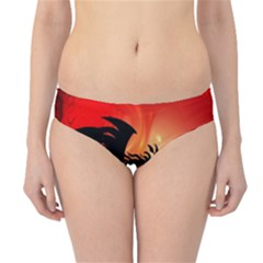 Funny, Cute Dragon With Fire Hipster Bikini Bottoms