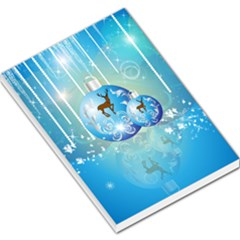 Wonderful Christmas Ball With Reindeer And Snowflakes Large Memo Pads