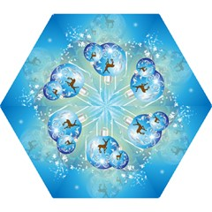 Wonderful Christmas Ball With Reindeer And Snowflakes Mini Folding Umbrellas
