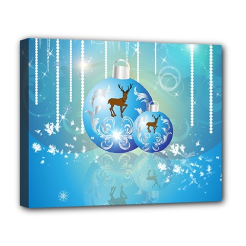 Wonderful Christmas Ball With Reindeer And Snowflakes Deluxe Canvas 20  x 16