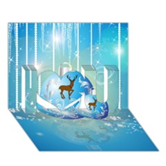 Wonderful Christmas Ball With Reindeer And Snowflakes I Love You 3d Greeting Card (7x5)
