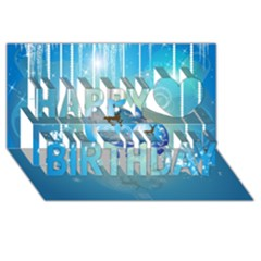 Wonderful Christmas Ball With Reindeer And Snowflakes Happy Birthday 3D Greeting Card (8x4)