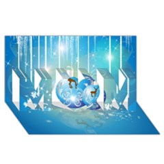 Wonderful Christmas Ball With Reindeer And Snowflakes Mom 3d Greeting Card (8x4)