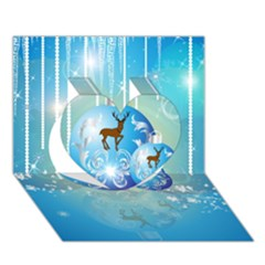 Wonderful Christmas Ball With Reindeer And Snowflakes Heart 3D Greeting Card (7x5)